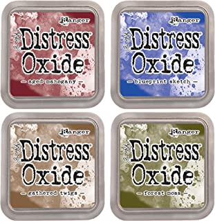 "Tim Holtz Ranger Distress Oxide Ink Bundle C - Four 3"" x 3"" Pads - Aged Mahogany, Blueprint Sketch, Forest Moss, and Gathered Twigs …"