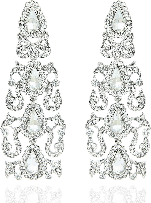 SP SOPHIA COLLECTION Women's Fancy Filigree Statement Chandelier Dangle Clip On Earrings