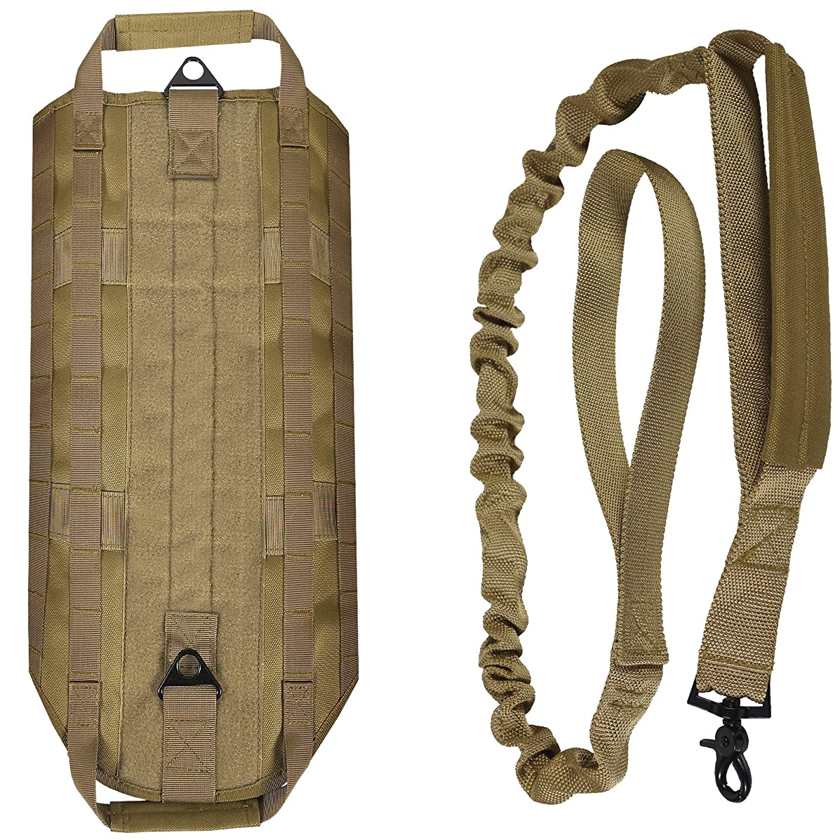 LIVABIT Canine Service Dog Tactical Molle Vest Harness + Matching Heavy Duty Bungee Leash Strap [ Also for Cats & Puppies ]