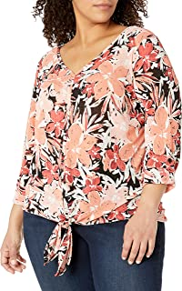 AGB Women's Plus Size Tie Front Top