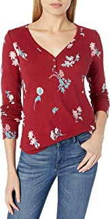 Lucky Brand Women's Allover Red Printed Thermal Top, Multi