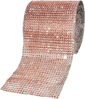 Mandala Crafts Faux Diamond Bling Wrap, Faux Rhinestone Crystal Mesh Ribbon Roll for Wedding, Party, Centerpiece, Cake, Vase Sparkling Decoration (4.75 Inches 24 Rows 10 Yards, Champagne)