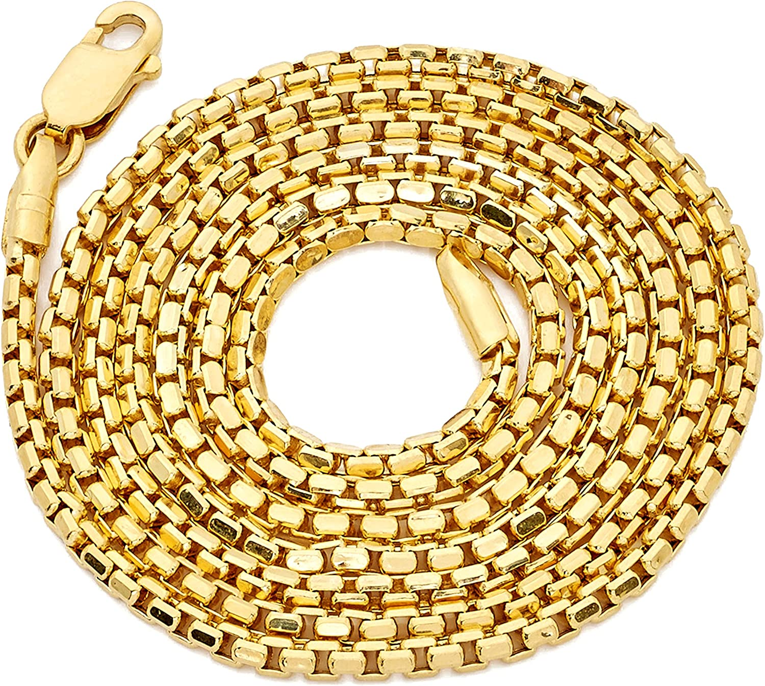 LoveBling 14K Yellow Gold 1.5mm Open Hollow Venetian Box Chain Necklace (Available from 18-24 inches)