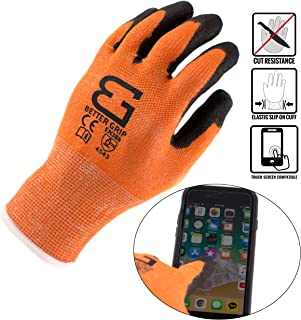 Better Grip BGCRPU Level 5 Cut Resistant Shell PU Coating Work Gloves | Work For Smart Phone, Text, Call, (Pack of 3, Extra Large, Orange)