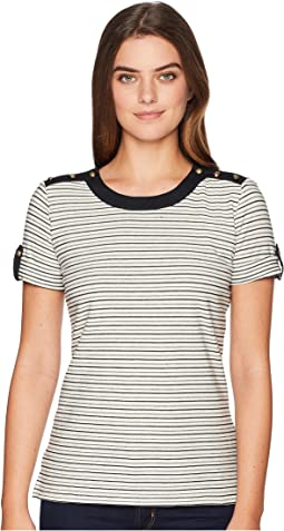 Striped Button-Shoulder Top