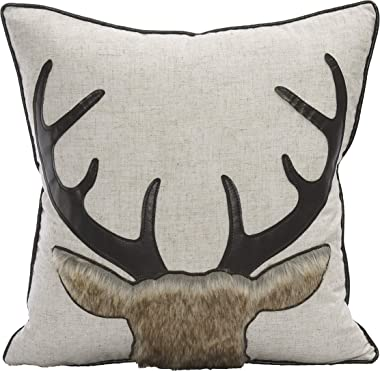 Little Funny Deer Throw Pillow Covers Farmhouse Deer Head Couch Pillow Decorative Linen Fur Deer Throw Pillow Case for Bed, S