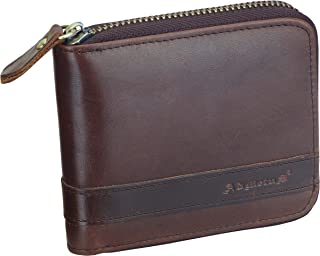 Admetus Men's Genuine Leather Short Zip-around Bifold Wallet