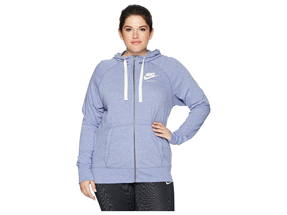 Nike NSW Gym Vintage Full Zip Hoodie (Size 1X-3X) (Purple Slate/Sail) Women