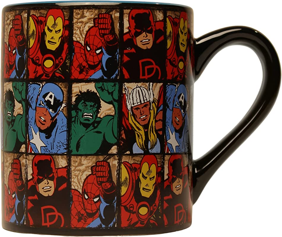 Silver Buffalo MV9132 Marvel Comics Grid Ceramic Mug 14 Ounces