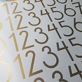 Modern Style Die Cut Vinyl Numbers (2 inch Soft Metallic Gold)