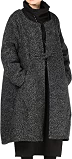 Women Loose One-Chinese Frog Button Wool Coat
