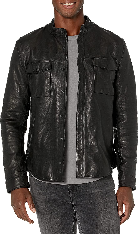 John Varvatos Star USA Men's Karl Shirt Jacket, Neck Band, Concealed Snap Cente