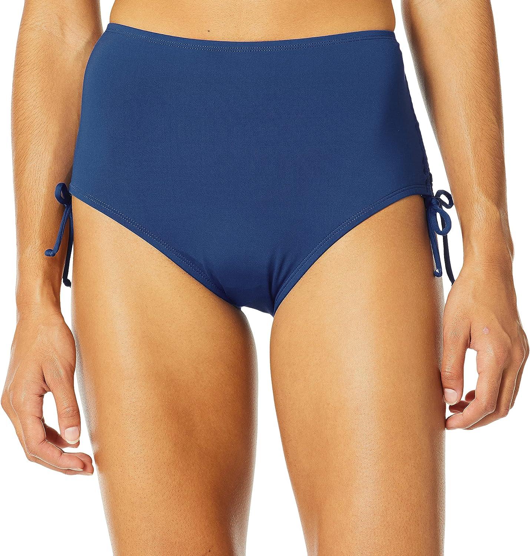 24th & Ocean Women's Core Solids Mid Waist Side Tie Pant Bikini Bottom