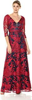 JS Collection Women's 3/4 Sleeve Deep V Lace Gown