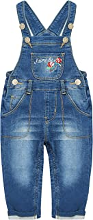 Kidscool Space Baby&Little Girls Letter Rose Embroidered Stretchy Cotton Denim Overalls