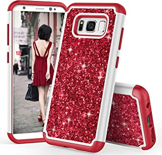 TILL for Galaxy S8 Case, TILL Luxury [Sparkle Sequins] Galaxy S8 SVIII Bling Shiny Color Glitter Fashion Case Dual Layer TPU Soft Inner Hard PC Protective Cute Case Cover Shell for Samsung S8 [Red]