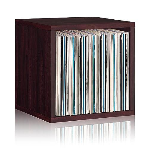 Way Basics Vinyl Record Storage Cube Extra Large Stackable LP Record Album  Shelf, Espresso Wood