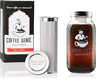 Coffee Genie Cold Brew Coffee Maker-2qt Iced Coffee Maker w/Ball Mason Jar and Stainless Steel Cold Brew Filter Infuser for Delicious Ice Coffee or Cold Brewed Iced Tea (64oz), Genie Jar Kit