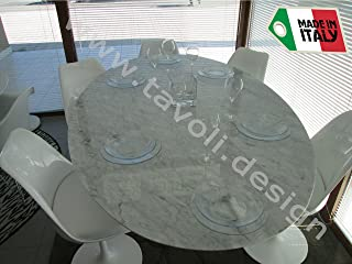 Tavoli.Design Oval Tulip Table (Saarinen) 78x48 inch (78,35x47,64) - Carrara Marble - Made in Italy