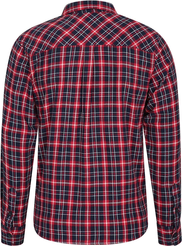 100/% Cotone Perfetta per Viaggi e Passeggiate Traspirante Leggera Mountain Warehouse Trace Camicia a Manica Lunga in Flanella Uomo
