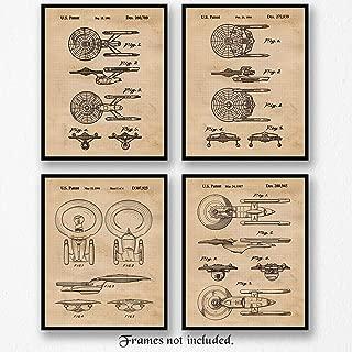 Original Star Trek Patent Art Poster Prints, Set of 4 (8x10) Unframed Photos, Wall Art Decor Gifts Under 20 for Home, Office, Garage, Shop, Man Cave, Student, Teacher, Comic-Con & Movies Fan
