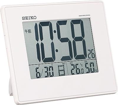 セイコー クロック 目覚まし時計 電波 デジタル 掛置兼用 カレンダー 温度 湿度 表示 大型画面 白 パール SQ770W SEIKO