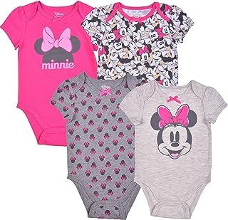 Disney Girl's 4-Pack Minnie Mouse Bodysuit Creeper Onesie Set