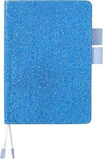 """WS MATE Glitter Notebook, PU Leather Cover, Refillable Journal with Pen Loop, Ruled/Lined, 6.4 x 9.1"""", Blue, 80 Sheets"""