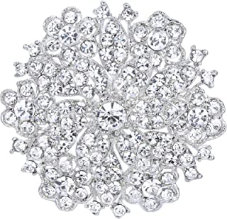 EVER FAITH Women's Clear Austrian Crystal Elegant Flower Wedding Corsage Brooch Pin for Bride Bridesmaid