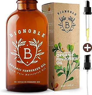 BIONOBLE ACEITE DE FENOGRECO 100% Orgánico | Macerado de Semilla de Fenogreco y Aceite de Semilla de Girasol | Bomba, Pipeta y Botella de Vidrio | Aumento de Pecho, Reafirmante Senos, Cabello (50ml)