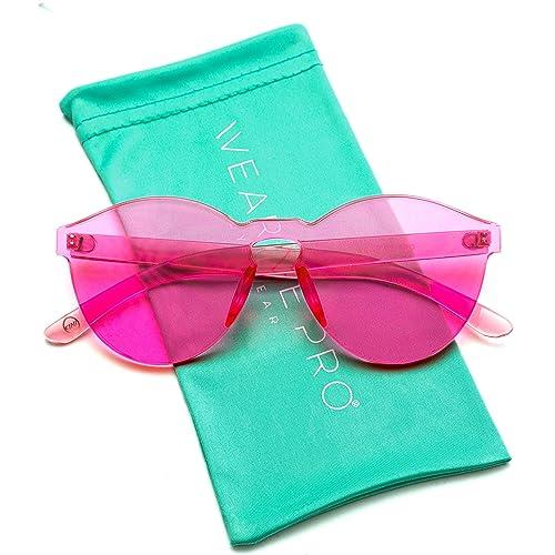 3e7d97b535 WearMe Pro - Colorful One Piece Transparent Round Super Retro Sunglasses