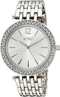XOXO Women's Analog Watch with Silver-Tone Case, Crystal-Inset Bezel, Silver-Tone Sunray Dial - Official XOXO Woman's Watc...