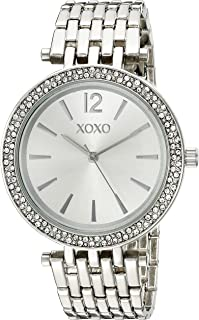 XOXO Women's Analog Watch with Silver-Tone Case, Crystal-Inset Bezel, Silver-Tone Sunray Dial - Official XOXO Woman's Watch, Fold-Over Clasp with Double Push-Button Safety - Model: XO263