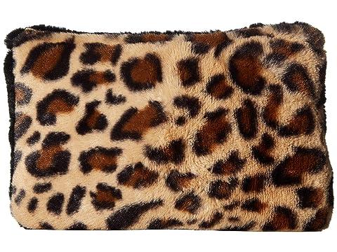 HAT ATTACK Faux Fur Color Block Clutch, Leopard/Black