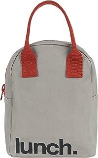 Fluf Zipper Lunch Bag   Reusable Canvas Lunch Box for Women, Men, Kids   Organic Cotton Meal Tote   (Grey Rust)