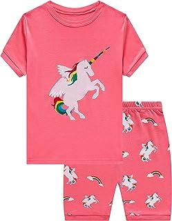 Sponsored Ad - Girls Short Sleeve Pajamas Set Kids Short Pjs Sets Summer Cotton