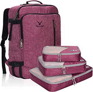 Hynes Eagle Men Backpack 38L Flight Approved Weekender Carry on Backpack Travel Backpack with 3pcs Packing Cubes Red Violet
