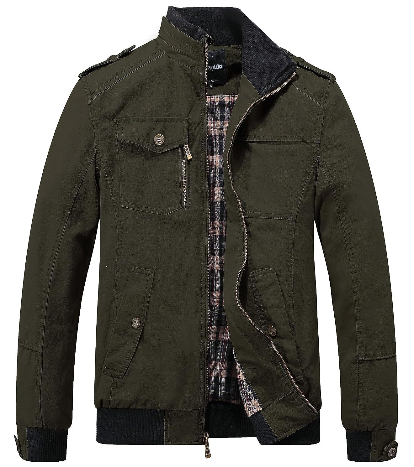 Wantdo Men's Cotton Stand Collar Windbreaker Jacket
