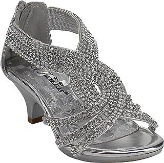 edc95368c8531 J.J.F Shoes Fabulous Angel-37K Kids Little Girls Bling Rhinestone Platform  Dress Heels Sandals