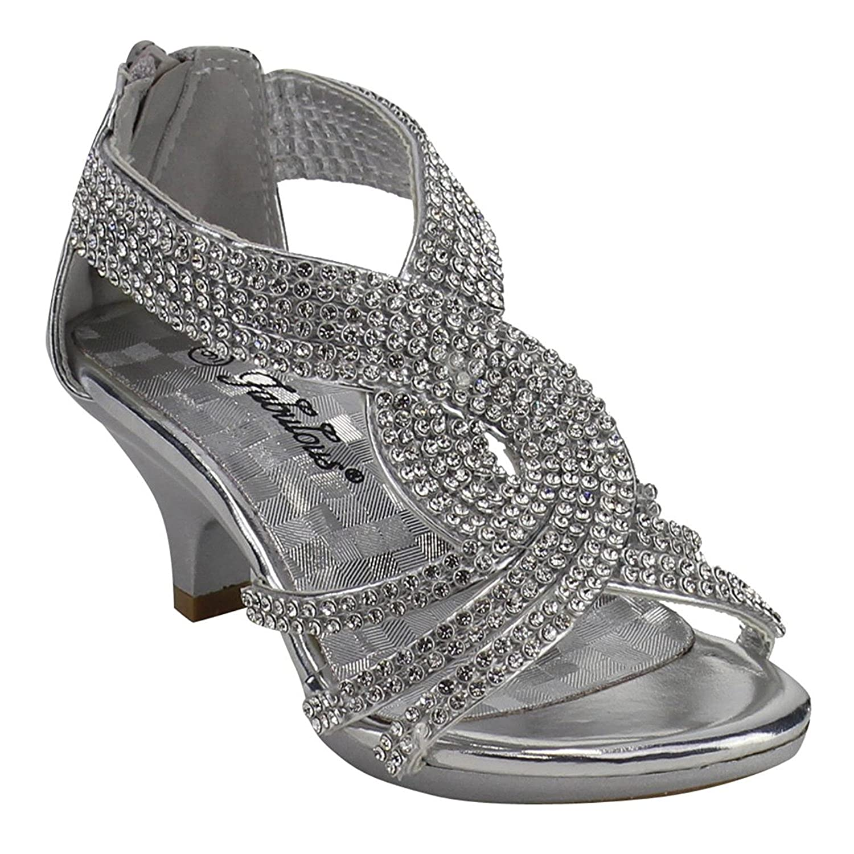[JJF Shoes] ガールズ US サイズ: 1 M US Little Kid カラー: シルバー