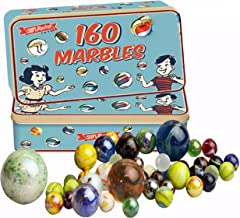 The Magic Toy Shop 160 Traditional Assorted Colorful Classic Retro Glass Marbles In a Tin Kids Game