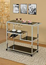Large Heavy Duty Chrome Metal Bar Tea Wine and Glass Holder Serving Service Cart With Tempered Black Glass Shelves