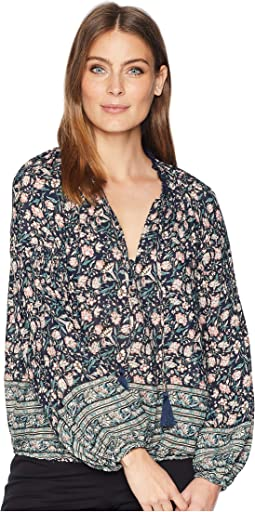 All Over Floral Puff Sleeve Peasant Top