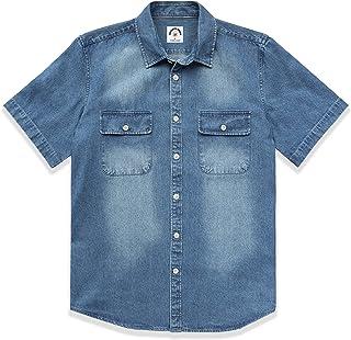 Dubinik Camisa de manga corta con botón de mezclilla para hombre Camisa de trabajo informal de algodón occidental