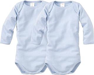 wellyou Baby und Kinder Langarmbody/Babybody mädchen und Junge aus 100% Baumwolle, Langarm Body 2er Set in hellblau weiß gr 50-134