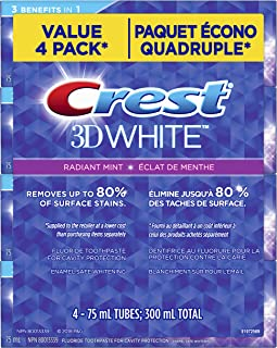 Crest 3d White Radiant Mint Whitening Toothpaste, Pack Of 4, 75 milliliters