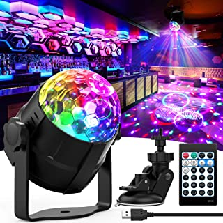 Disco Ball Light, 15 Colors Sound Activated Party Lights with Remote Control DJ Lights for Room Decor, Portable Rotating L...