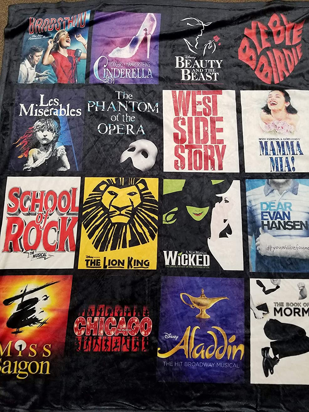 Broadway Theater Favorite Shows Custom Blanket- Favorite Broadway Shows Blanket- Personalized Blanket for your Theater Buff