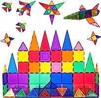 PicassoTiles 60 Piece Set 60pcs Magnet Building Tiles Clear Magnetic 3D Building Blocks Construction Playboards -...