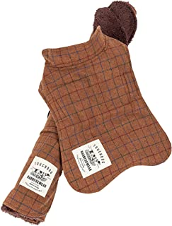 Touchdog ® 2-In-1 Windowpane Plaided Dog Jacket With Matching Reversible Dog Mat, Large, Brown